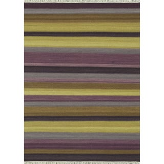 Zahra Hand Woven Violet Wool Rug (5'0 x 7'6)