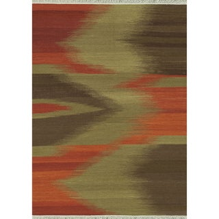 Zahra Hand Woven Red/ Brown Wool Rug (5'0 x 7'6)