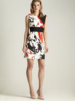 Catherine Malandrino Printed Scoop Neck Dress