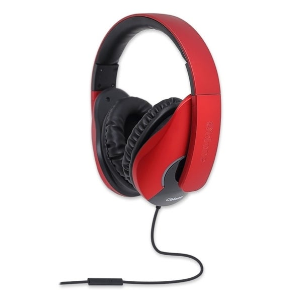 Oblanc Black/ Red Shell200 NC3 2.0 Stereo Headphone with In-line Microphone