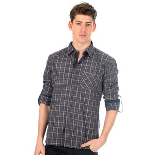 191 Unlimited Men's Slim Fit Plaid Woven Shirt in Charcoal with Chest Pocket