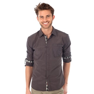 191 Unlimited Men's Charcoal Slim-Fit Woven Shirt