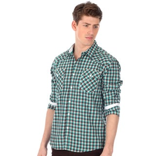 191 Unlimited Men's Slim Fit Plaid Woven Shirt in Green with Two Chest Pockets