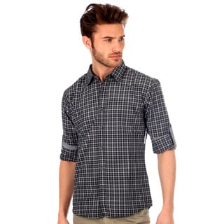 191 Unlimited Men's Slim Fit Plaid Woven Shirt in Charcoal