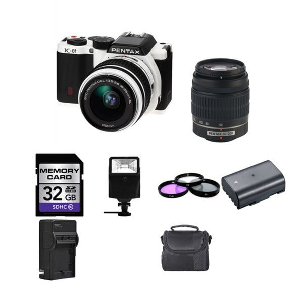Pentax K-01 Digital Camera/ 18-55mm & 50-200mm & Digital Flash Bundle