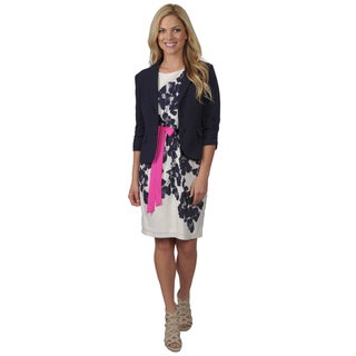 Jessica Howard Women's Cap Sleeve Floral Print Dress with Jacket
