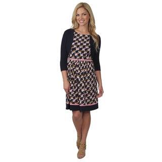 Jessica Howard Women's Belted Sleeveless Shirred Skirt Dress