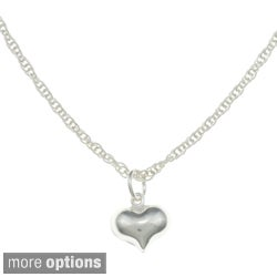 Sterling Essentials Sterling Silver Small Heart Rope Chain Necklace