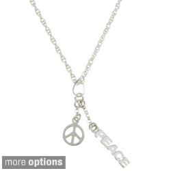 Sterling Essentials Sterling Silver 'Peace' Rope Chain Necklace