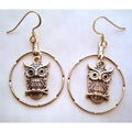 Owl Hoop Earrings