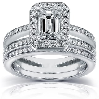 Annello 14k Gold 1 1/2 ct TDW Emerald-cut Diamond Bridal Ring Set (H-I, SI1-SI2) with Bonus Item