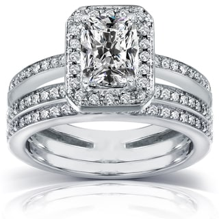 Annello 14k Gold 1 1/2ct TDW Radiant-cut Diamond Bridal Ring Set (H-I, I1-I2)