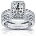 14k Gold 1 1/2ct TDW Radiant-cut Diamond Bridal Ring Set (H-I, I1-I2)