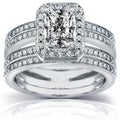 Annello 14k Gold 1 3/5 ct TDW Radiant-cut Diamond Bridal Ring Set (H-I, I1-I2)