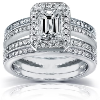 Annello 14k Gold 1 3/5 ct TDW Emerald Cut Diamond Bridal Set (H-I, SI1-SI2) with Bonus Item