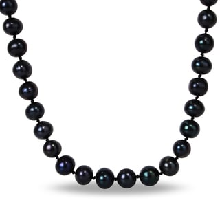 Miadora Silvertone Black Cultured Freshwater Pearl Necklace (10-11 mm)