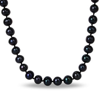 Miadora Silvertone Black Freshwater Pearl Necklace (10-11 mm)