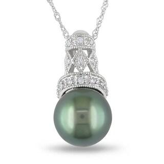 Miadora 14k Gold Tahitian Pearl and Diamond Necklace (9-9.5 mm)
