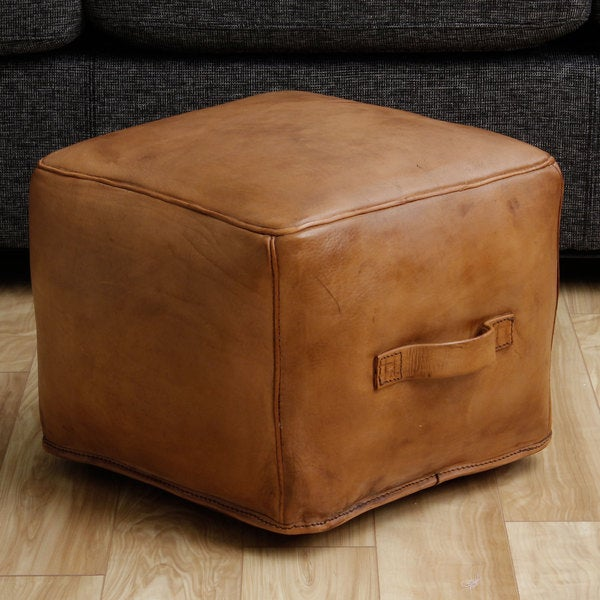 Leather Natural Ottoman (Peru)