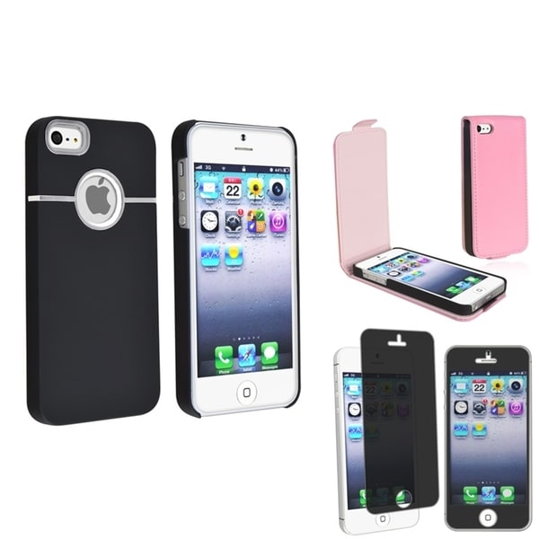 BasAcc 2 Case Set/ Privacy Filter LCD Protector for Apple iPhone 5/ 5S