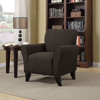 Portfolio Seth Chocolate Brown Linen Curved Back Arm Chair