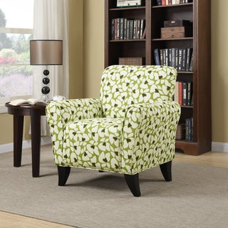 Handy Living Seth Green Modern Floral Curved Back Arm Chair
