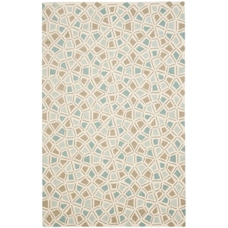 Martha Stewart Spring Wheel Mosaic Milk Pail Blue Cotton Rug (2' 6 x 4' 3)