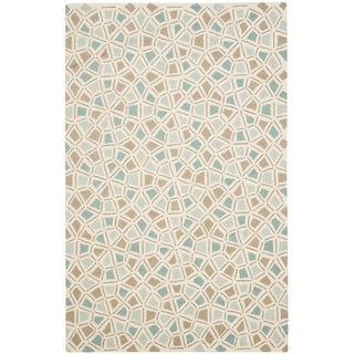 Martha Stewart Spring Wheel Mosaic Milk Pail Blue Cotton Rug (3' 9 x 5' 9)