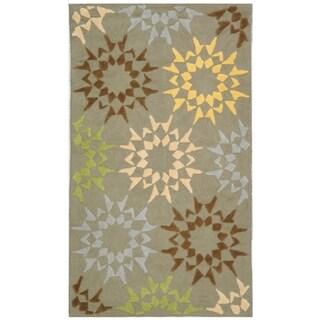 Martha Stewart Quilt Pebble/ Grey Cotton Rug (2' 6 x 4' 3)
