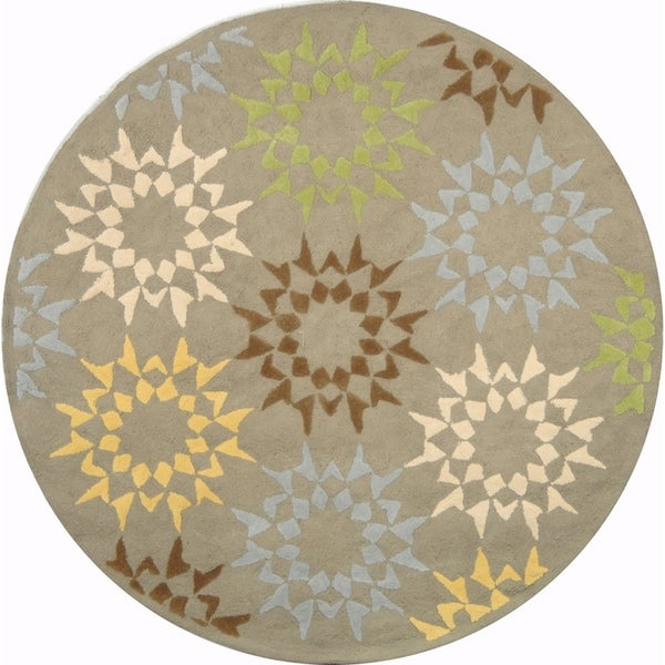 Martha Stewart Quilt Pebble/ Grey Cotton Rug (4' x 4' Round)