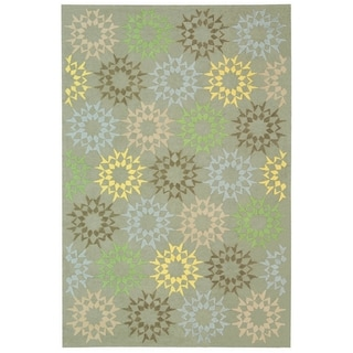 Martha Stewart Quilt Opal/ Grey Cotton Rug (9' 6 x 13' 6)