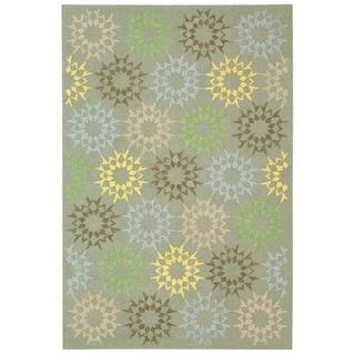 Martha Stewart Quilt Opal/ Grey Cotton Rug (7' 9 x 9' 9)