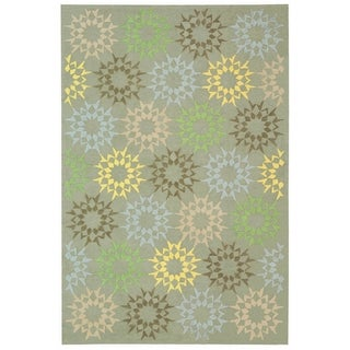 Martha Stewart Quilt Opal/ Grey Cotton Rug (8' 6 x 11' 6)