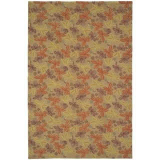 Martha Stewart Meadow Crimson/ Clover Wool Rug (8' 6 x 11' 6)