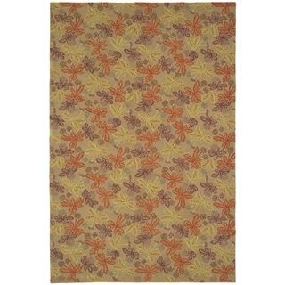 Martha Stewart Meadow Crimson/ Clover Wool Rug (8' 6 x 11' 6)