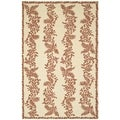 Martha Stewart Fern Row Red/ Dahlia Wool Rug (5' 6 x 8' 6)