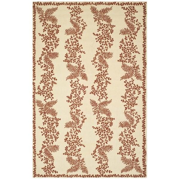 Martha Stewart Fern Row Red/ Dahlia Wool Rug (5' 6 x 8' 6)