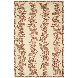 Martha Stewart Fern Row Red/ Dahlia Wool Rug (7' 9 x 9' 9)
