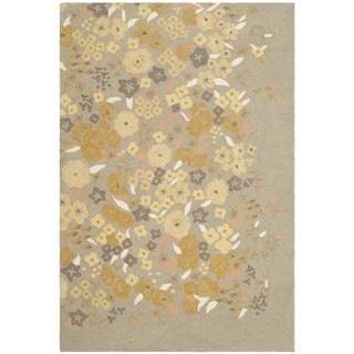 Martha Stewart Watercolor Garden Nutshell Wool Rug (3' 9 x 5' 9)