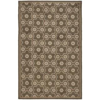 Martha Stewart Puzzle Molasses Brown Wool Rug (5'6 x 8'6)