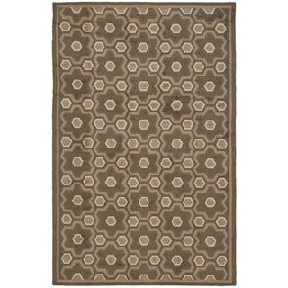 Martha Stewart Puzzle Molasses Brown Wool Rug (7'9 x 9'9)