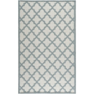 Martha Stewart Vermont Contemporary Ivory/Light-Blue Wool Rug (4' x 6')
