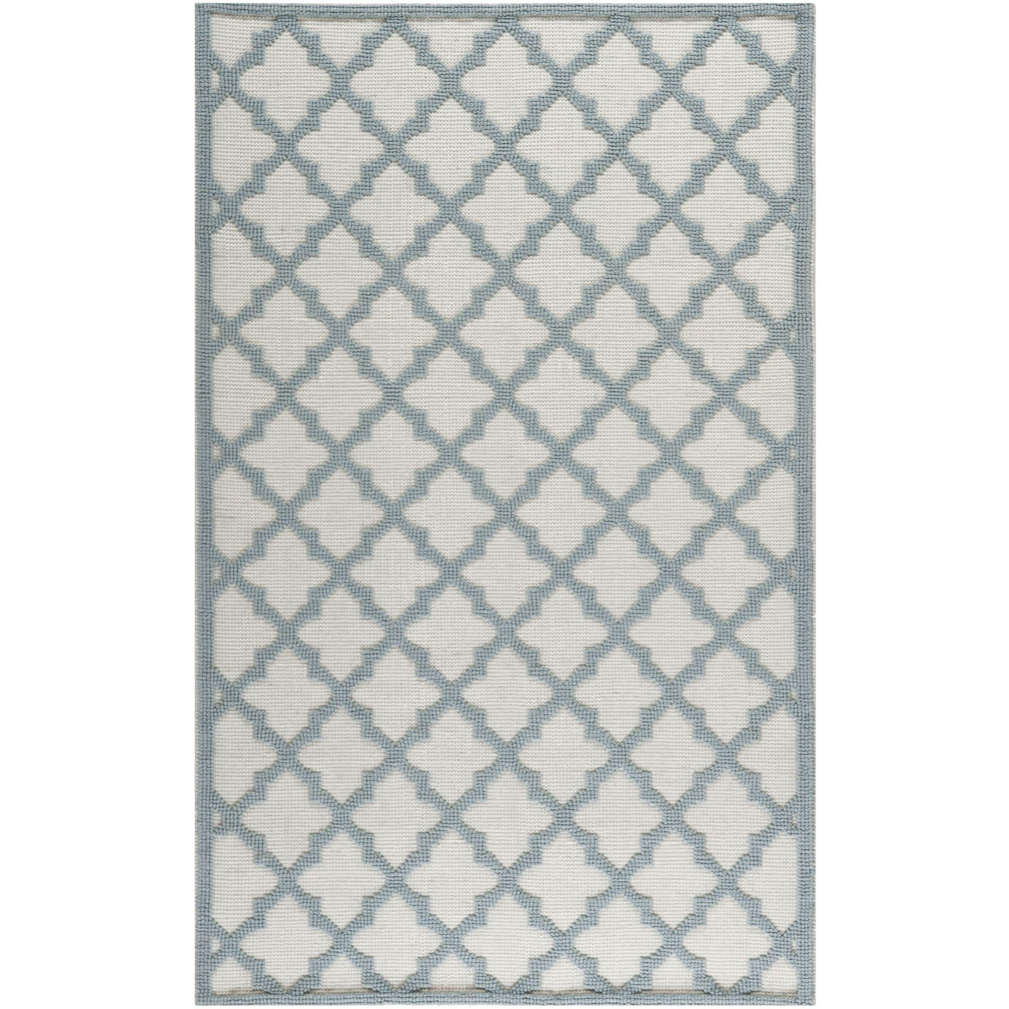 Martha Stewart By Safavieh Vermont Ivory/ Light Blue Wool Area Rug (5u0027 X 8u0027)