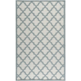 Martha Stewart Vermont Ivory/ Light Blue Wool Rug (8' x 10')