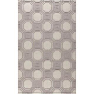 Martha Stewart Vermont Ivory/ Purple Wool Rug (5' x 8')