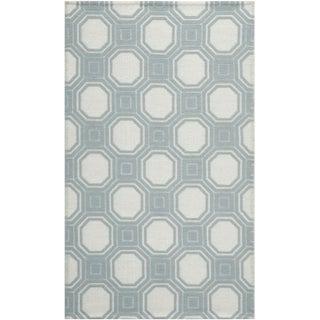 Martha Stewart Vermont Ivory/ Light Blue Wool Rug (5' x 8')