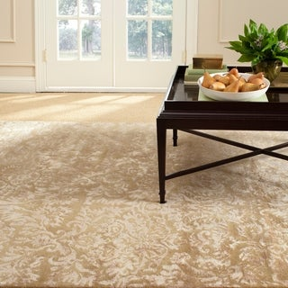 Martha Stewart Damask Honeycomb Wool/ Viscose Rug (9' 6 x 13' 6)