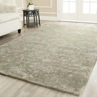 Martha Stewart Damask Sage Wool/ Viscose Rug (3' 9 x 5' 9)