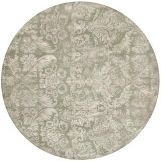 Martha Stewart Damask Sage Wool/ Viscose Rug (6' Round)