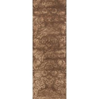 Martha Stewart Damask Mahogany Wool/ Viscose Rug (2' 3 x 10')